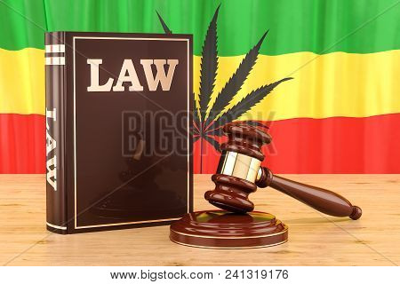 Legality Of Cannabis Concept With Rasta Flag, 3d Rendering