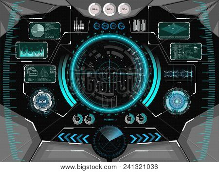 Sci-fi Futuristic Glowing Hud Display. Vitrual Reality Technology Screen. View From The Cockpit Spac