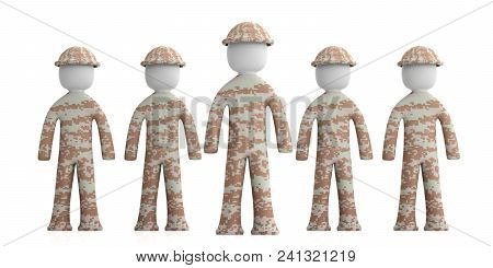 Team Of Soldiers, Military Human Figures, One Figure Ahead, Isolated On White Background. 3D Illustr