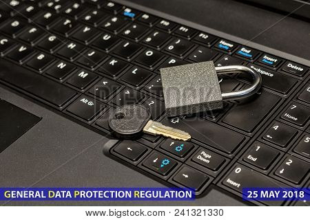 Lock And Key As Symbol For Privacy And General Data Protection Regulation On A Notebook Computer