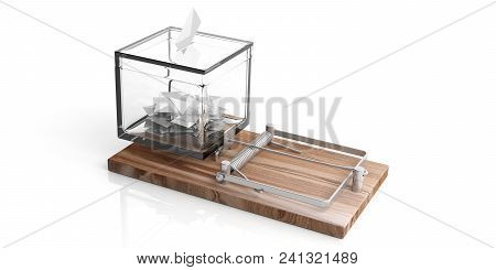 Election Trap Concept. Vote Ballot Transparent Box With Votes On Wooden Mouse Trap In White Backgrou