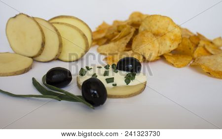 Potato Chips. Chips With Olives  And Greens. Mexican Guacamole And Salsa Dip, Nachos Tortilla Chips
