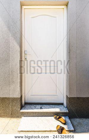 White Wooden Door. Front Door, Wood Material And White Color