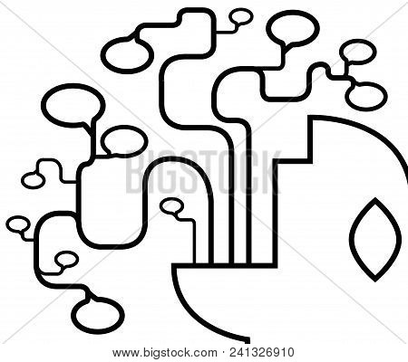 Talking Head Voice Abstract Line Drawing Black, Stylized Vector Illustration, Horizontal, Over White