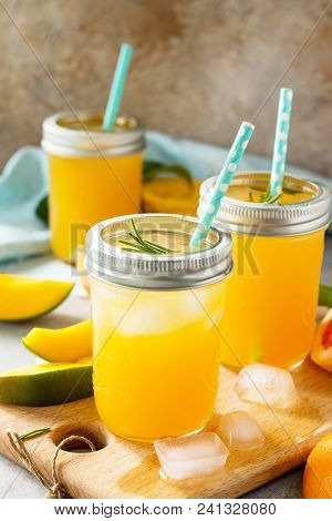 Healthy Juicy Diet With Summer Vitamin Drinks Or A Concept Of Vegetarian Food, Fresh Vitamins, A Hom