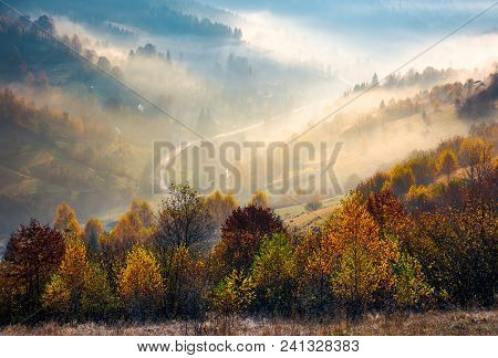 Road Through The Village In Foggy Valley. Gorgeous Autumn Scenery In Carpathian Mountains. Beautiful