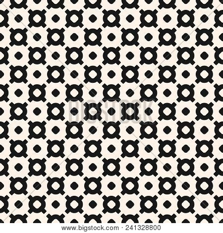 Vector Monochrome Seamless Pattern With Small Circles, Crosses, Dots. Black And White Geometric Text