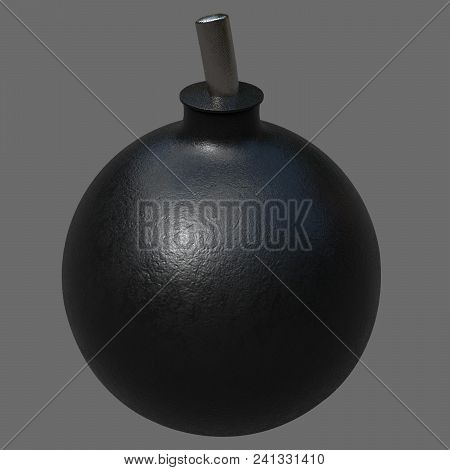 3d Rendering. A Cartoon Bomb. An Image Of A Large Size, Obtained Using 3d Rendering. A Dark Bomb Wit