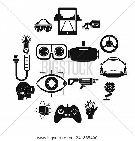Virtual Reality Icons Set. Simple Illustration Of 16 Virtual Reality Vector Icons For Web