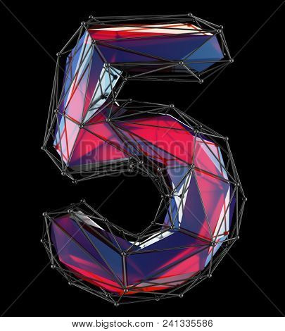 Number 5 (five) in low poly style red color isolated on black background. 3d rendering