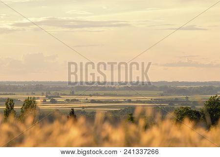 Summer Countryside Fields. Distant Fields Landscape. Countryside Fields.