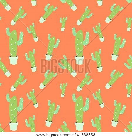 Home Blossom Green Cactus In White Pot In Doodle Style, Flat Cartoon Colors, Seamless Pattern Isolat