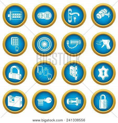 Lock Door Types Icons Set. Simple Illustration Of 16 Lock Door Types Vector Icons For Web