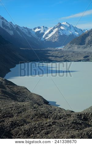 Tasman glacier is the largest glacier in New Zealand in the Southern Alps in New Zealand's South Island