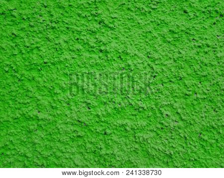Сoncrete Of Green Plastered Wall. Green Salad Plastered Wall Texture Grunge Background. Beautiful De