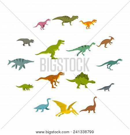 Dinosaur Icons Set In Flat Style Isolated Vector Illustration