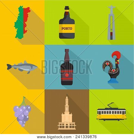 Porto Land Icons Set. Flat Set Of 9 Porto Land Vector Icons For Web Isolated On White Background