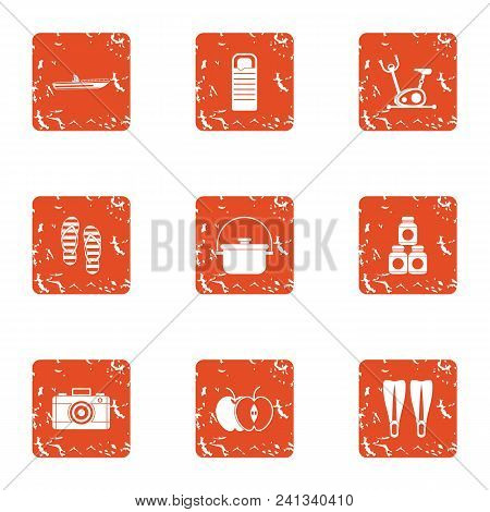 Tour Preparation Icons Set. Grunge Set Of 9 Tour Preparation Vector Icons For Web Isolated On White