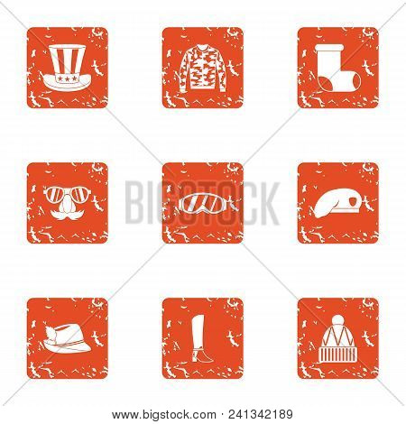 Attire Icons Set. Grunge Set Of 9 Attire Vector Icons For Web Isolated On White Background