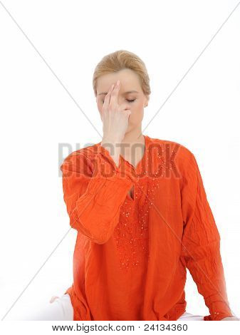 Young Woman Doing Yoga Breath Practics