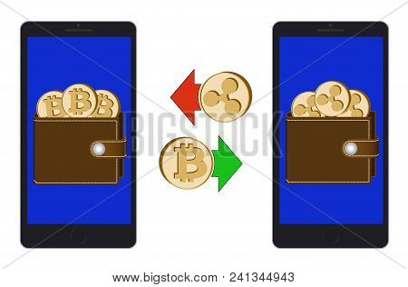 Exchange Between Bitcoin And Ripple In The Phone On A White Background , Exchange Cryptocurrency In
