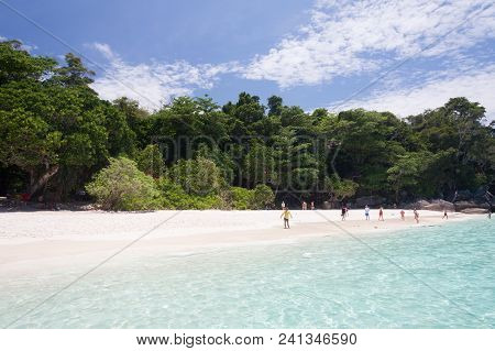 Turquoise Sea And White Sand At Similan Island , Thailand