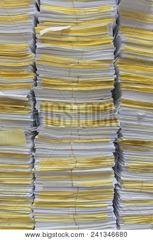 Stack Of Documents For Background And Texture.
