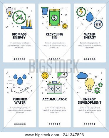 Vector Set Of Mobile App Onboarding Screens. Biomass Energy, Recycling Bin, Water Energy, Purified W
