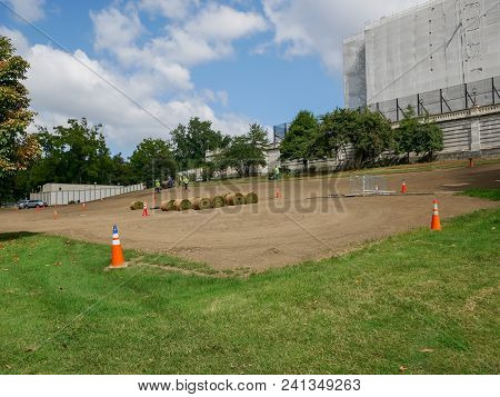 Washington Dc - Sep 2017: Green Replacement Close To United States Capitol Building, Home Of The Con