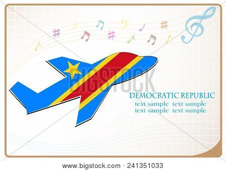 Plane Icon Made From The Flag Of Democratic Republic