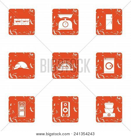 Repair Pad Icons Set. Grunge Set Of 9 Repair Pad Vector Icons For Web Isolated On White Background