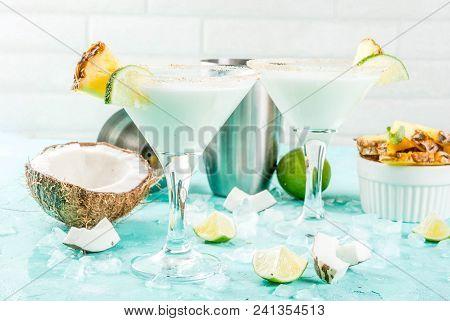 Tropical Drink, Frozen Coconut Pineapple Margaritas With Frozen Pina Colada, Tequila, Pineapple Juic