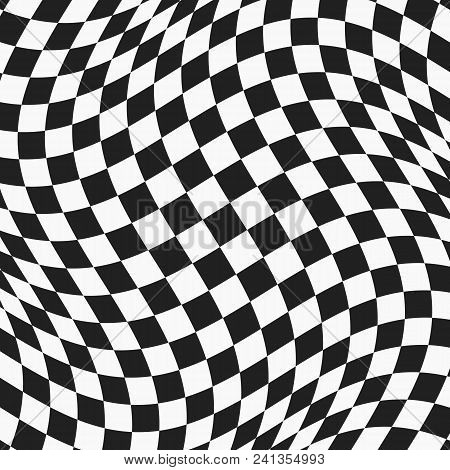 Black And White Checkered Wavy Surface. Abstract Distorted Plane With Square Tiles. Vector Backgroun