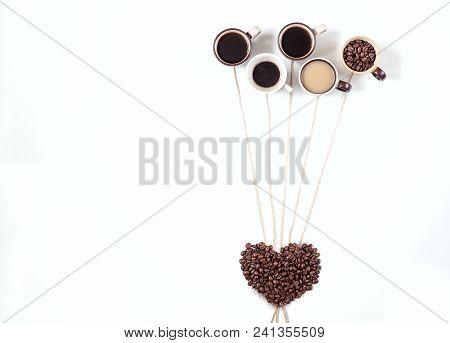 Coffee Time Coffee Break. Assorted Coffee Mugs Espresso Cappuccino Latte Coffee Bean In The Form Of
