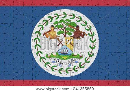 Belize Flag  Is Depicted On A Folded Puzzle