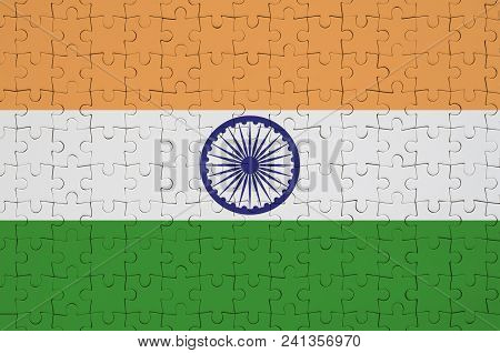 India Flag  Is Depicted On A Folded Puzzle