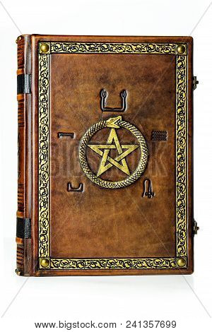 Vintage Leather Book With Gilded Ouroboros, Pentagram And Embossed Five Elements Symbols On The Anci