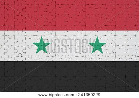 Syria Flag  Is Depicted On A Folded Puzzle