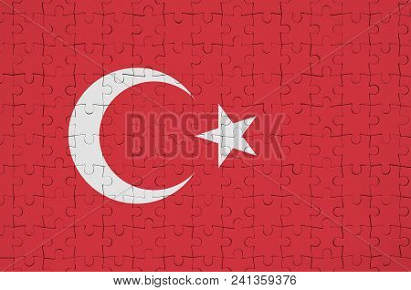 Turkey Flag  Is Depicted On A Folded Puzzle