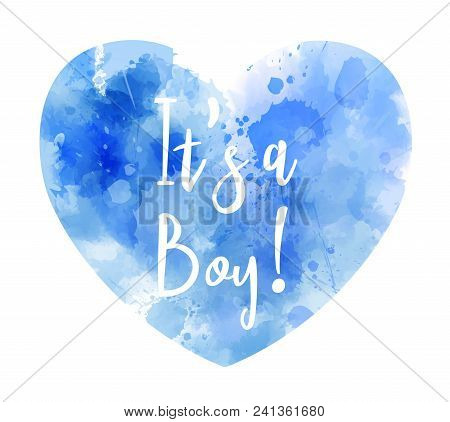 It's A Boy Watercolor Heart - Gender Reveal Concept