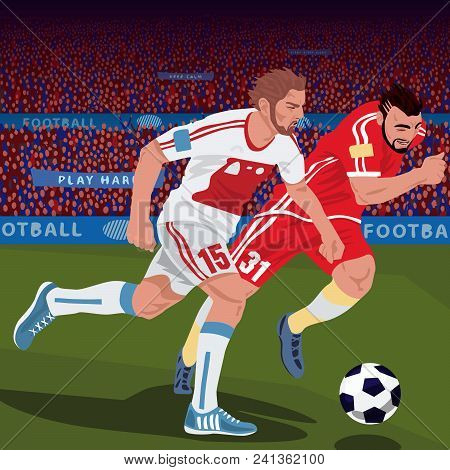 Football Gameplay. Two Soccer Players From Different Teams, Running For Ball On Football Field, Fron