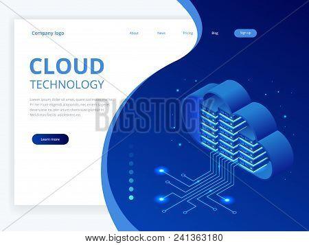 Isometric Modern Cloud Technology And Networking Concept. Web Cloud Technology Business. Internet Da