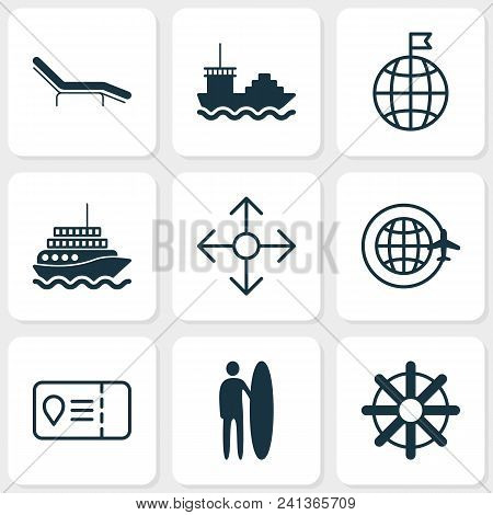 Tourism Icons Set With Tanker, Motor Ship, Beach Chair And Other Yacht Elements. Isolated Vector Ill