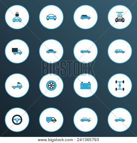 Auto Icons Colored Set With Car, Auto, Accumulator And Other Lorry Elements. Isolated Vector Illustr