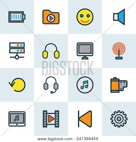 Multimedia Icons Colored Line Set With Backward, Media Server, Replay And Other Smile Elements. Isol