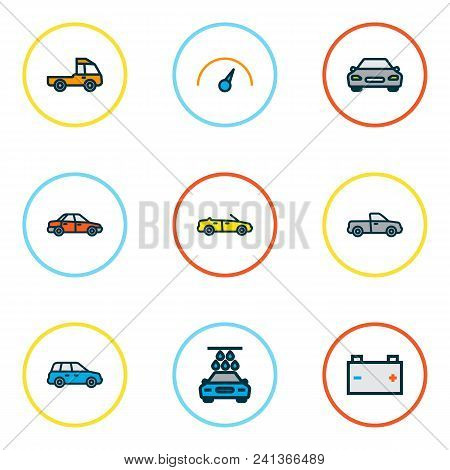 Automobile Icons Colored Line Set With Car, Speedometer, Battery And Other Auto  Elements. Isolated