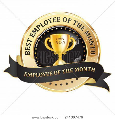 Best Employee Of The Month - Work Recognition Award Badge For Companies