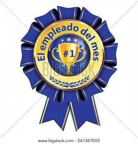 Employee Of The Month Written In Spanish - Elegant Golden Blue Award Ribbon For Companies