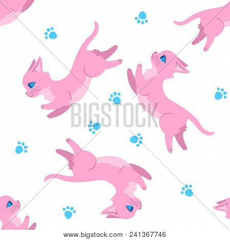 Seamless Pattern Design With Pink Leaping Cats And Paw Prints. Can Be Used As A Background, On Packa