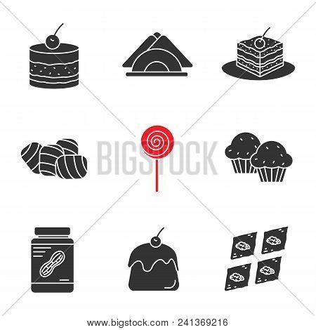 Confectionery Glyph Icons Set. Silhouette Symbols. Tiramisu, Cake, Table Napkins, Marshmallow, Lolli